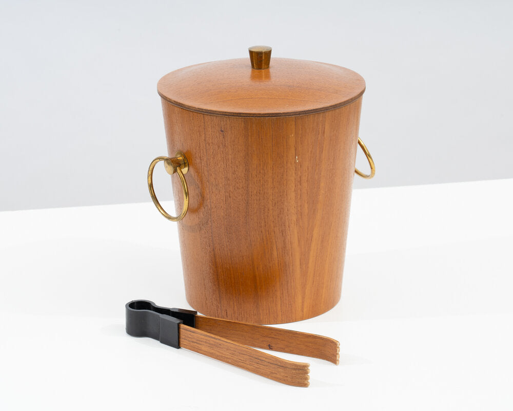 Teak Ice Bucket and Tongs