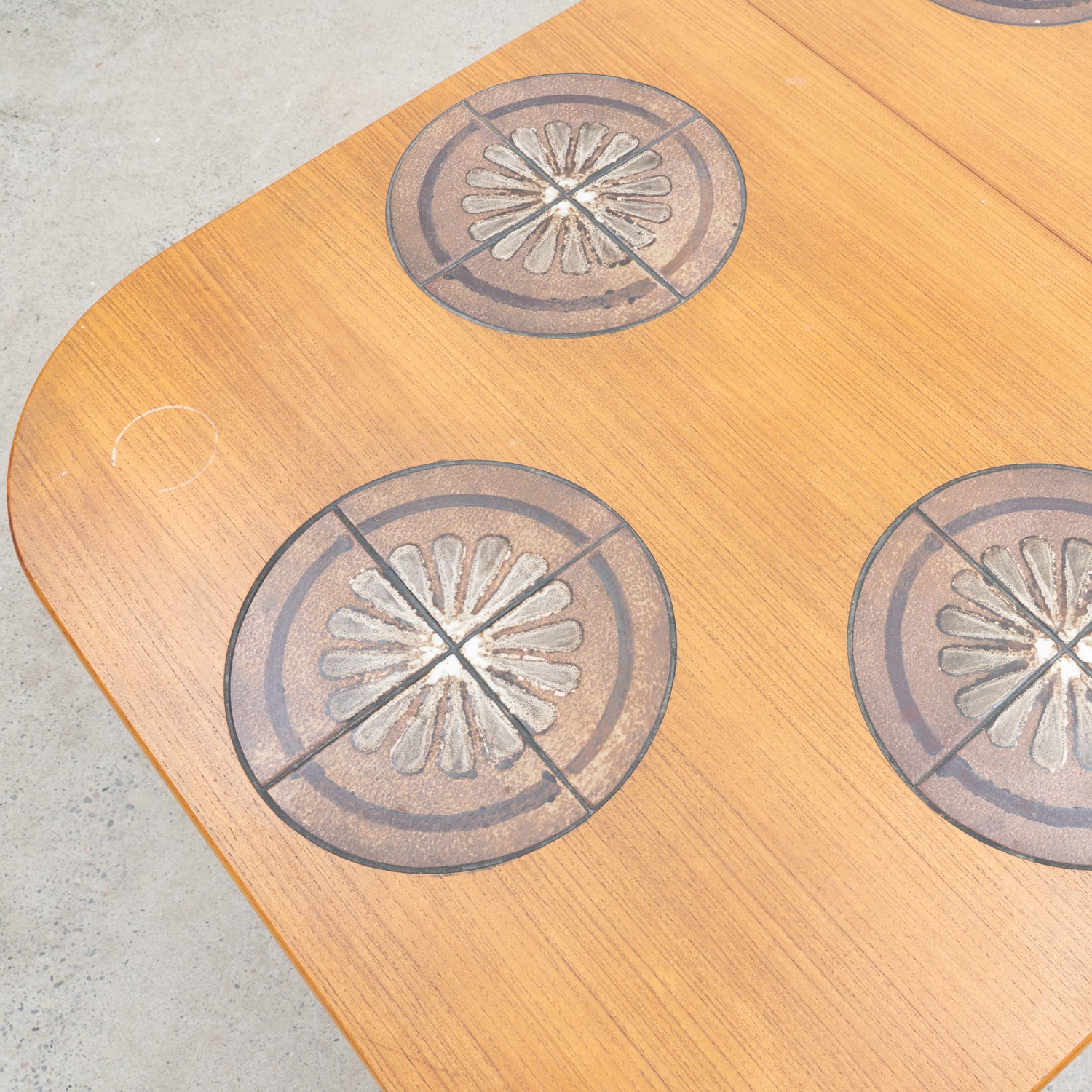 Teak Dining Table with Tile Inlay