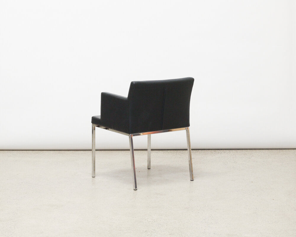 Set of 4 Contemporary Black Arm Chairs