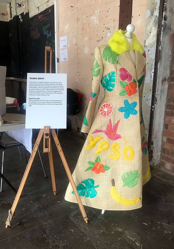 Tihara Smith raffia coat at oin Street's Creative Takeover at Bargehouse, OXO Tower Wharf