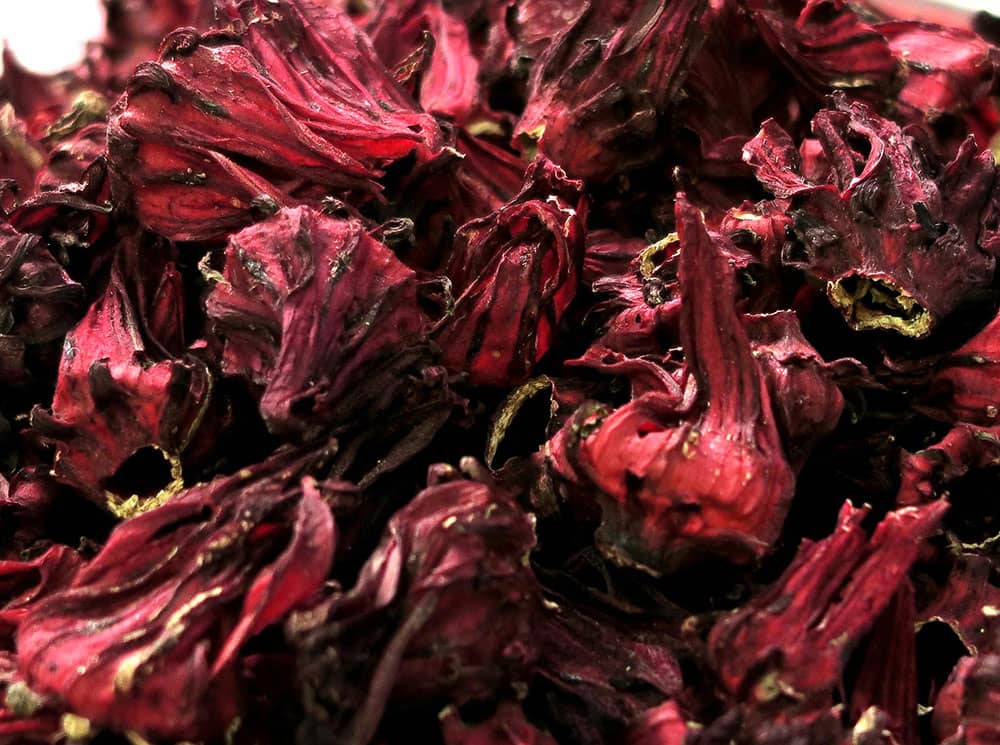 Close up image of dried roselle hibiscus flowers (sorrel)