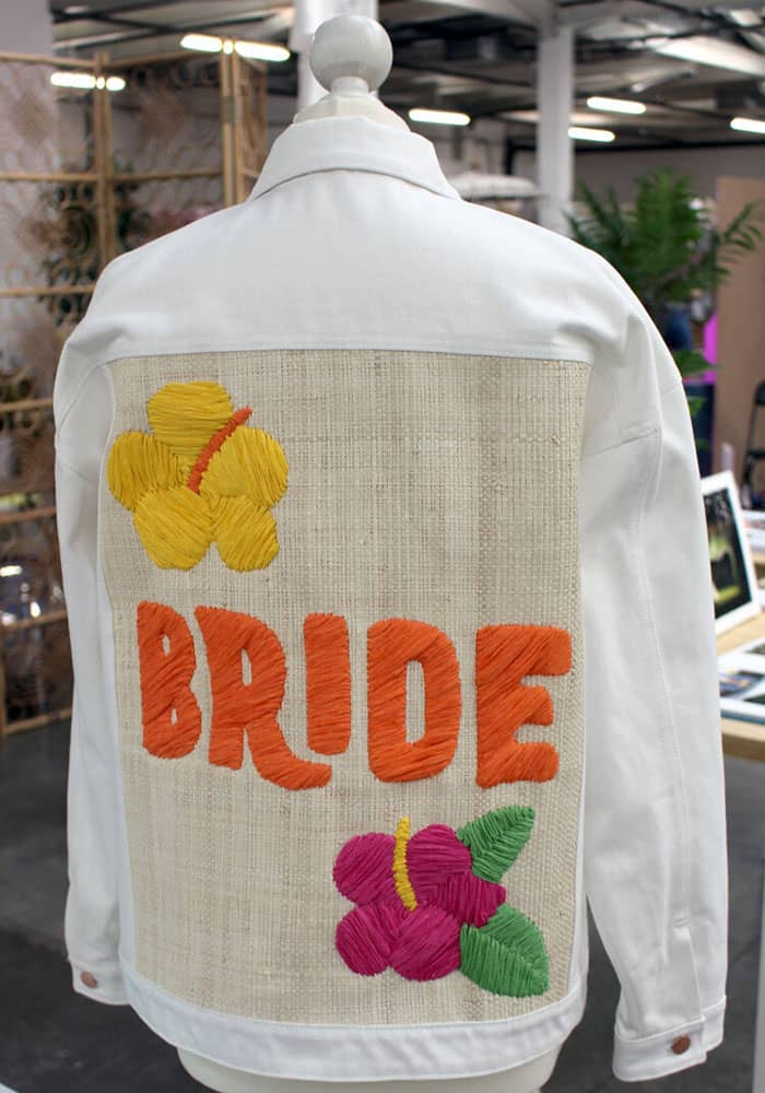 Tihara Smith's white denim with a raffia back and the word 'bride' embordered on the jacket