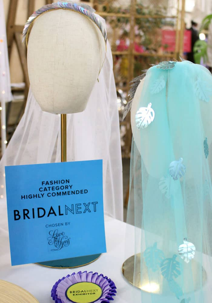 Tihara Smith's The Most Curious Wedding Fair 2020 BridalNext Award, pictured with wedding veils from her collection