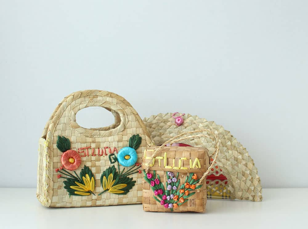 Raffia bags baskets embroidery produced in St Lucia