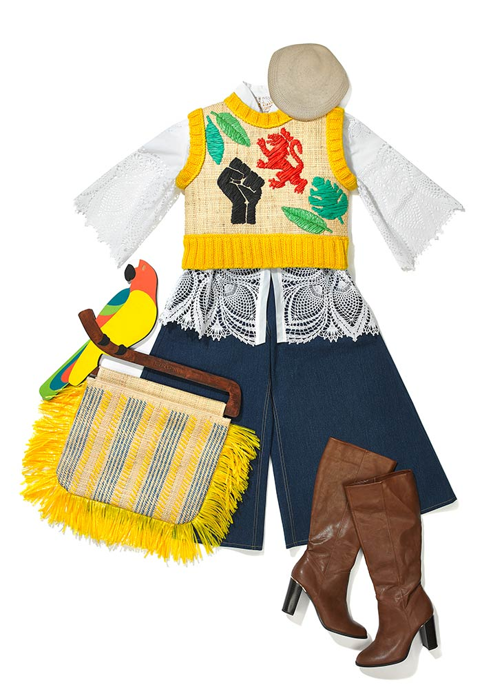 Image of an outfit from Tihara Smith's Windrush Collection with raffia vest and denim culottes.