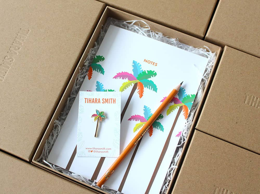Tropical gift sets with Tihara Smith recycled packaging
