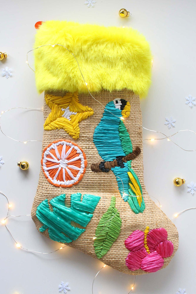Raffia Embroidered Christmas Stocking - TiharaSmith
