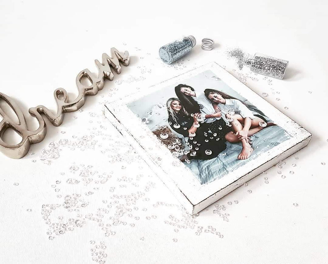 square PERSONALISED photo GIFT freestanding wooden block