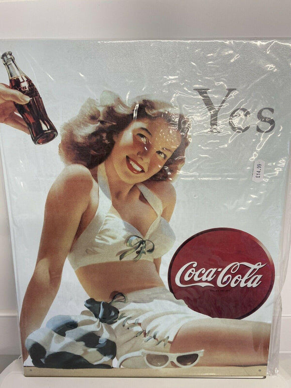 Red Hot Metal Tinplate Wall Sign Coca Cola Coke Girl Yes