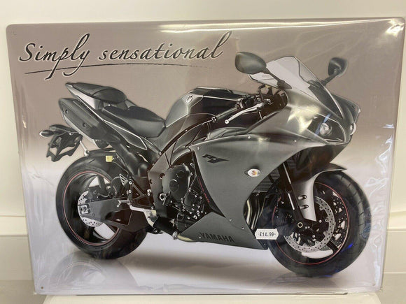 Red Hot Metal Tinplate Wall Sign Yamaha R1 Simply Sensational