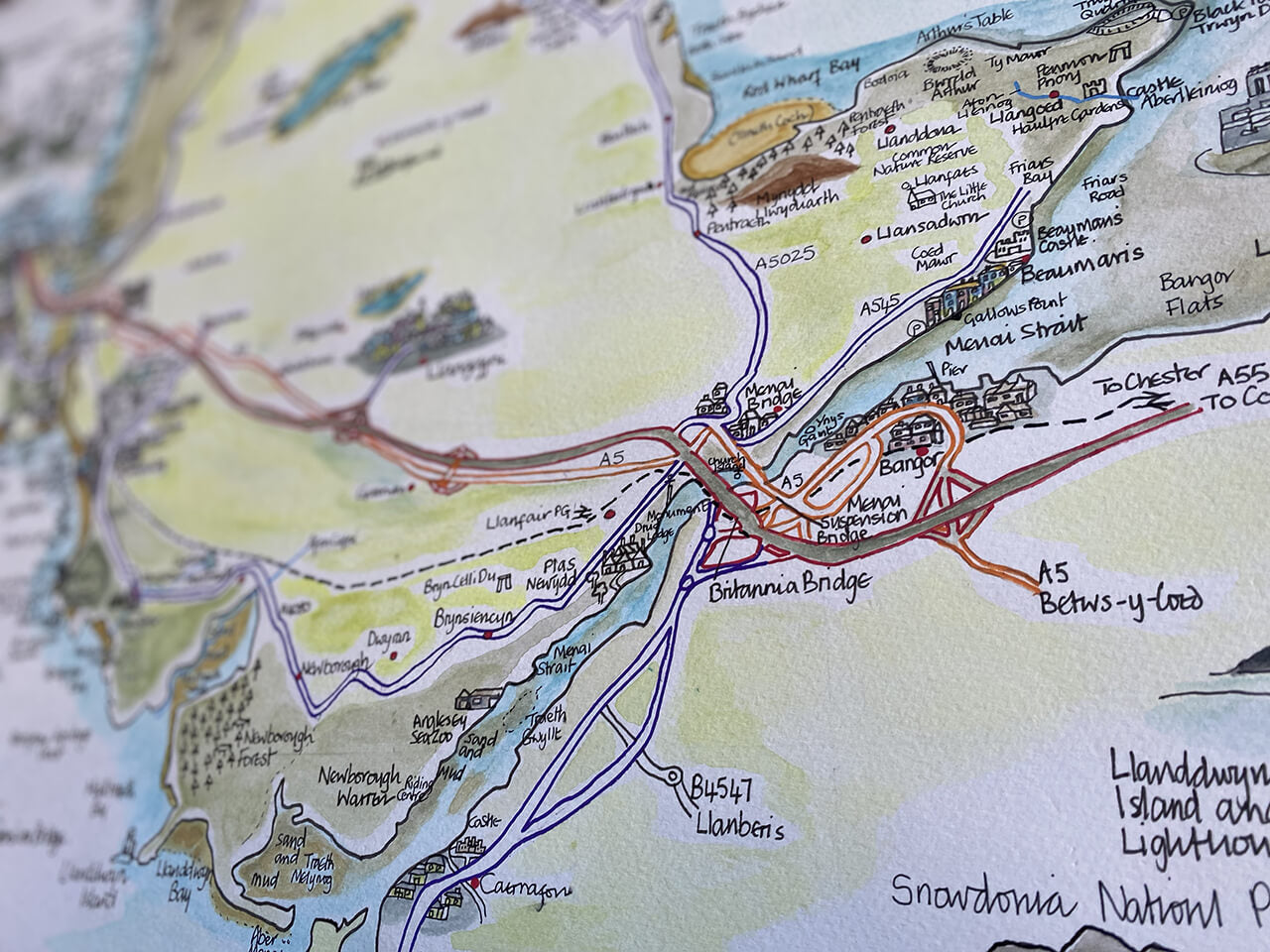 Maps of Anglesey hand drawn