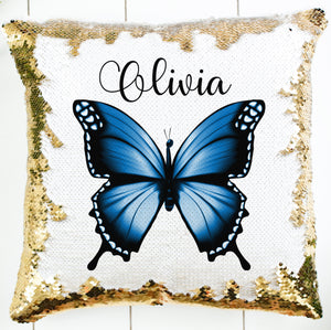 Personalized Navy Butterfly Pillow