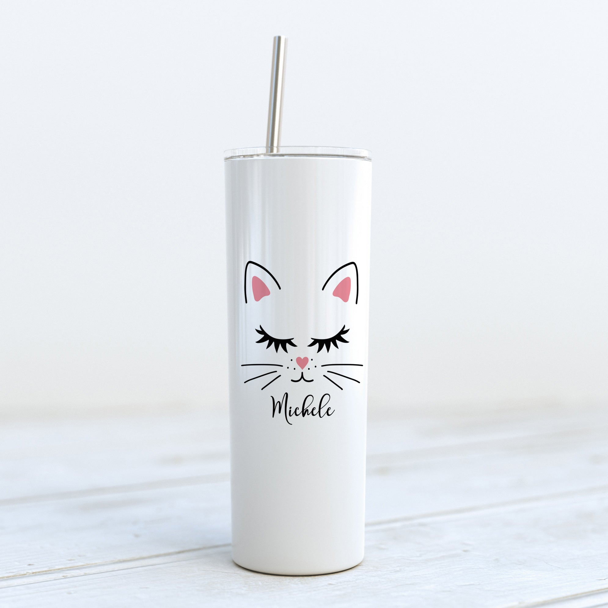 Personalized Cat Whiskers Skinny Tumbler