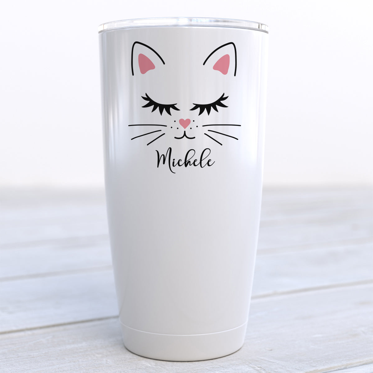 Personalized Cat Face Travel Cup