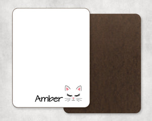 Personalized Cat Face Dry Erase Board