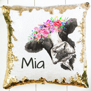 Personalized Peeking Cow Pillow