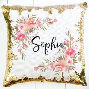 Personalized Corner Floral Pillow