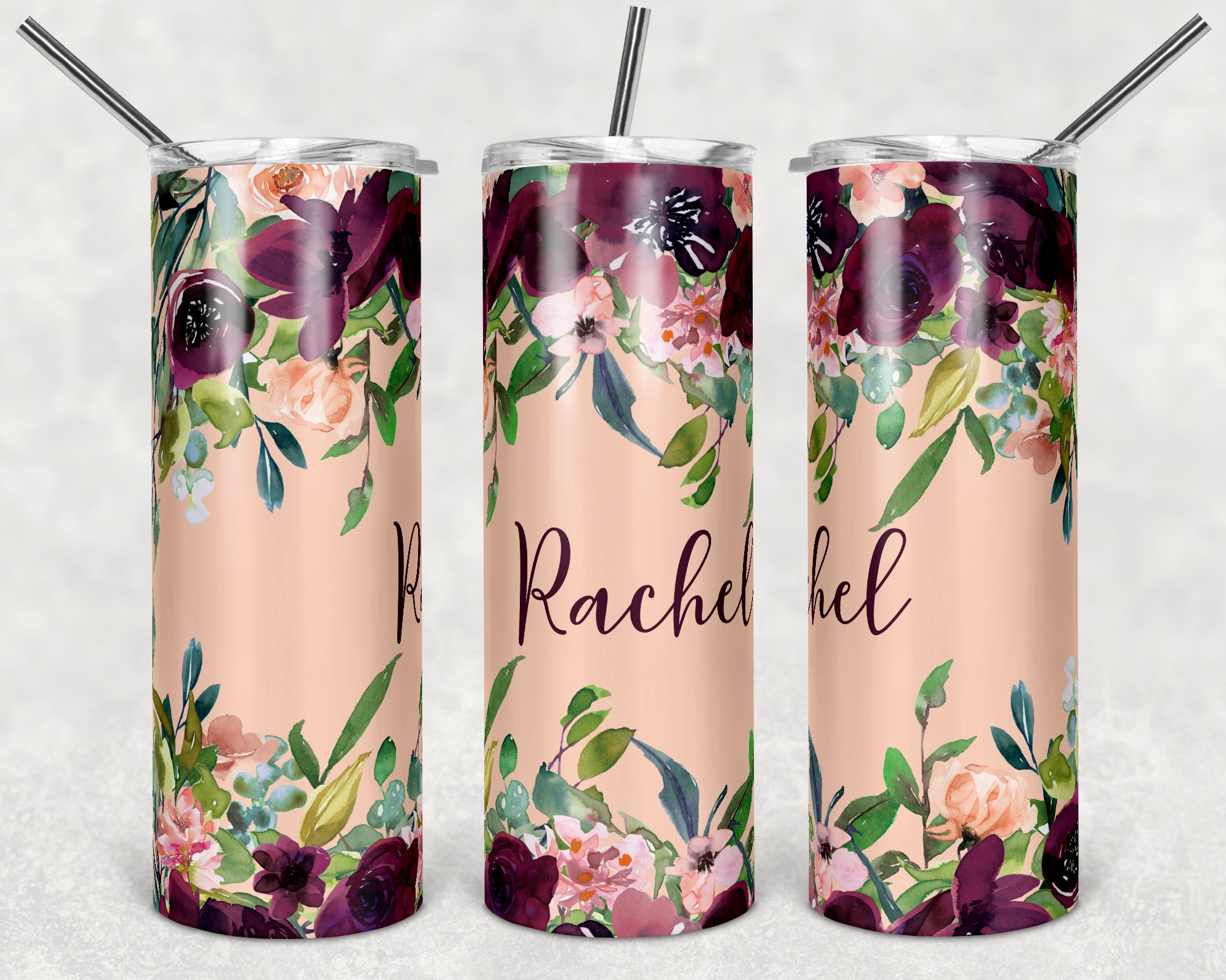 Personalized Maroon Floral Skinny Tumbler