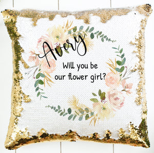Personalized Cream Greenery Wreath Pillow