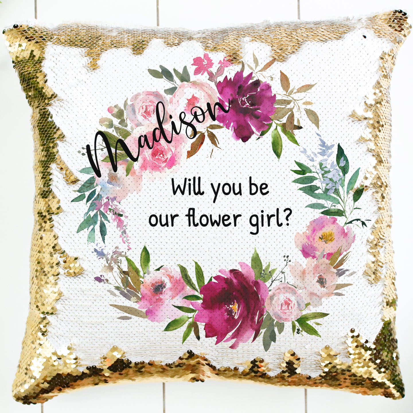 Custom Flower Girl Proposal Pillow