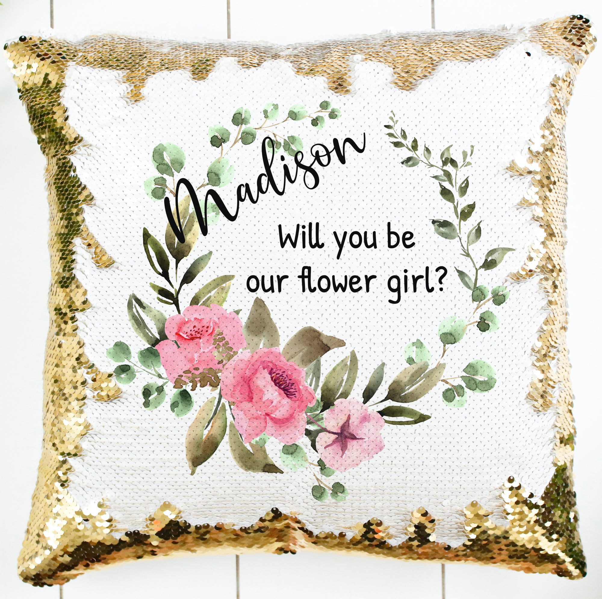 Personalized Rose Greenery Wreath Pillow