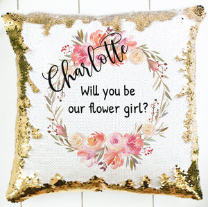 Personalized Coral Peach Wreath Pillow