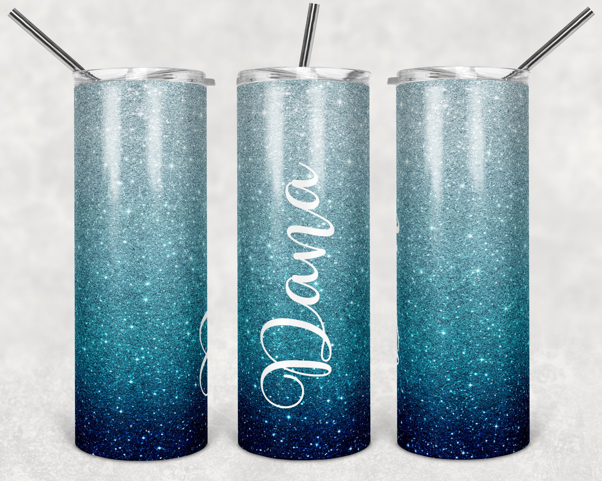 Personalized Blue Ombre Glitter Skinny Tumbler
