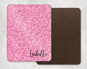 Glitter Pink Personalized Dry Erase Board