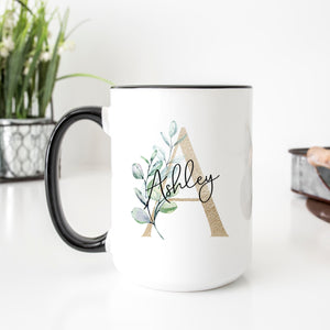 Personalized Gold Monogram Eucalyptus Mug