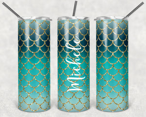 Green Ombre Mermaid Personalized Skinny Tumbler