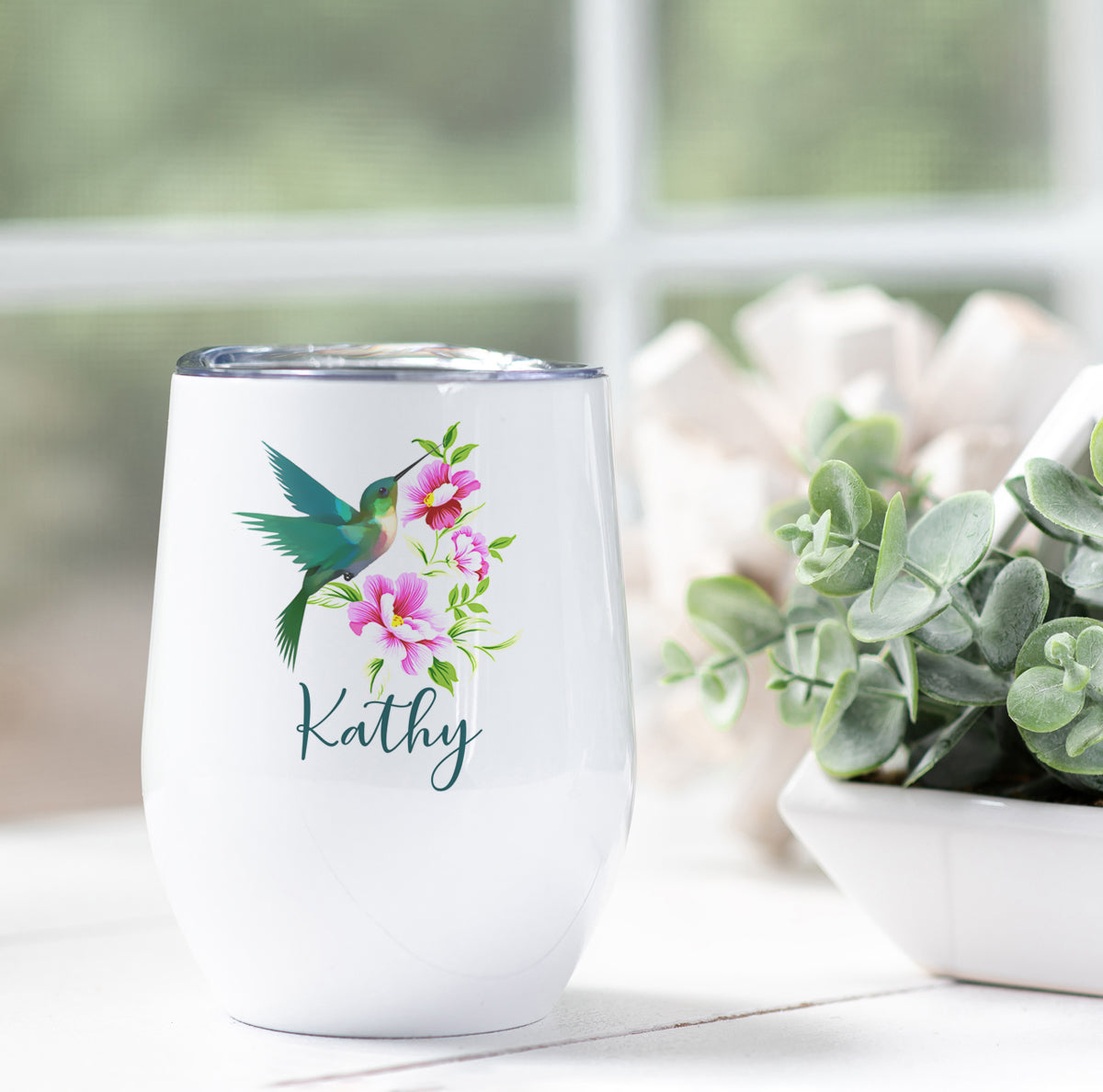 Personalized Hummingbird Wine Tumbler
