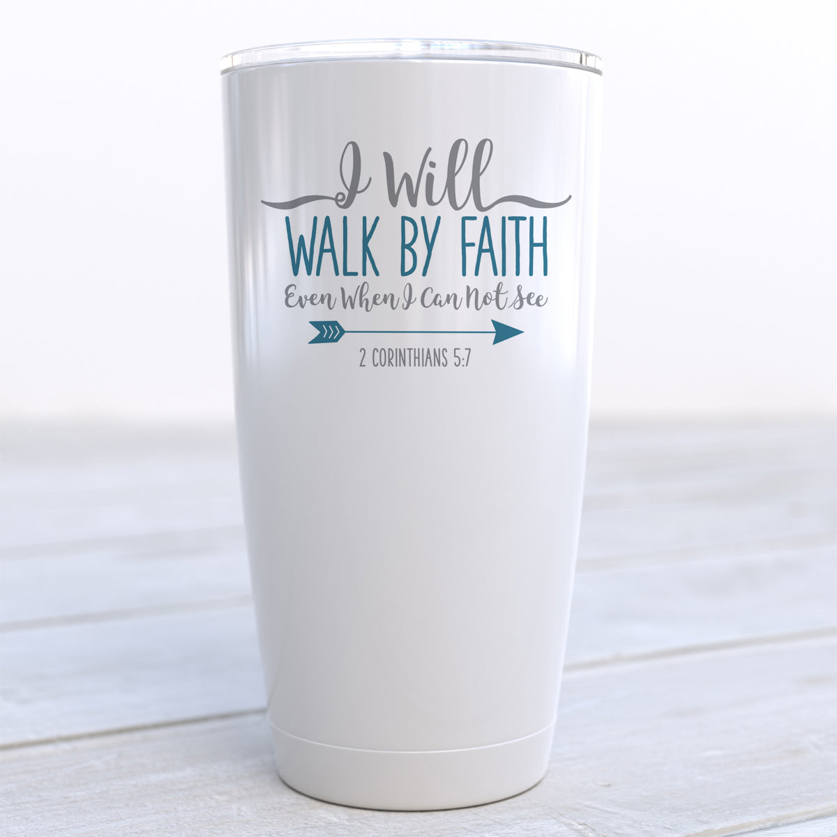 I Will Walk By Faith Travel Cup