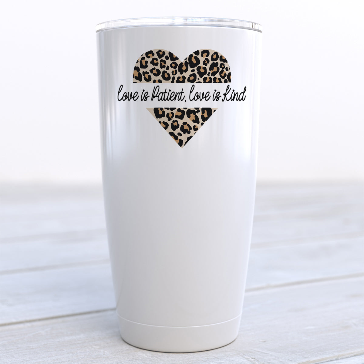 Love is Patient Love is Kind Cheetah Heart Travel Cup