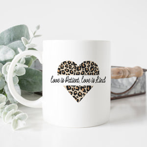 Love is Patient Cheetah Heart Mug