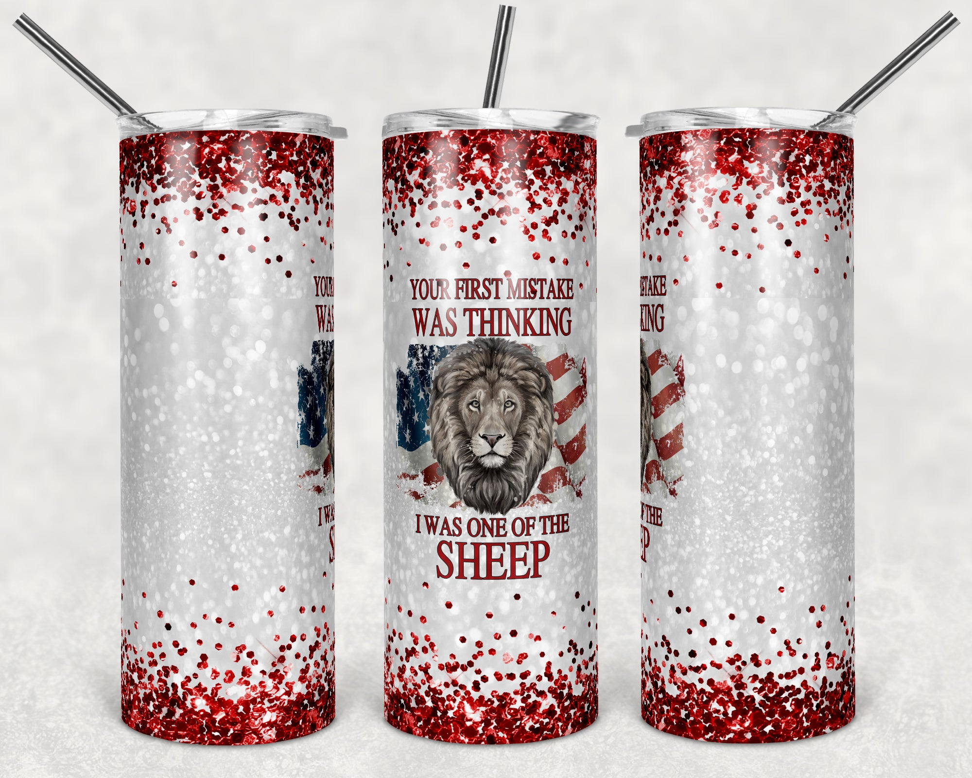 Not a Sheep Red Glitter Skinny Tumbler