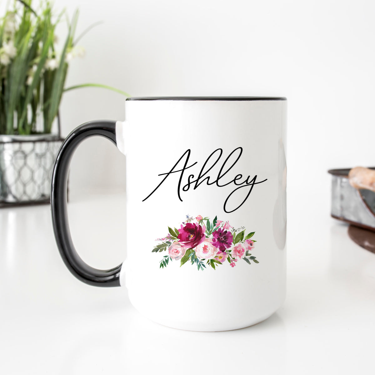 Personalized Floral Pink Mood Mug