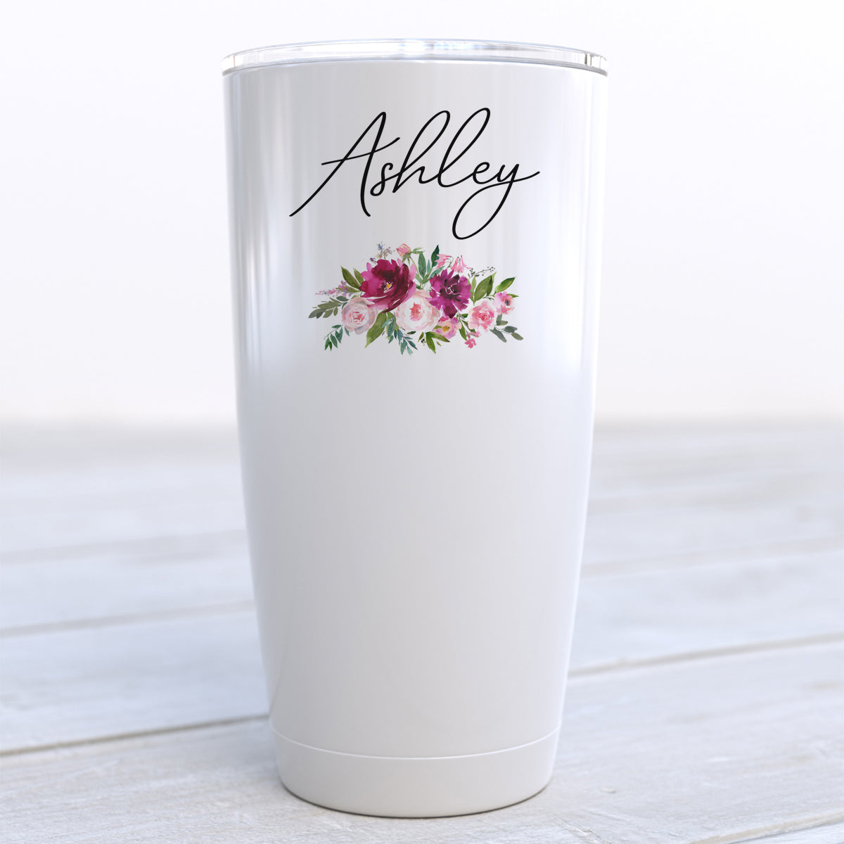 Personalized Floral Pink Mood Travel Cup