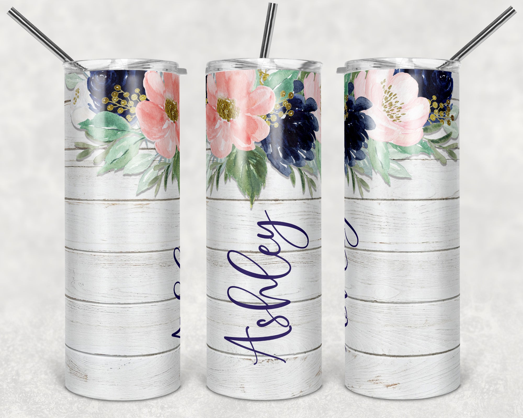 Personalized Floral Wood Skinny Tumbler