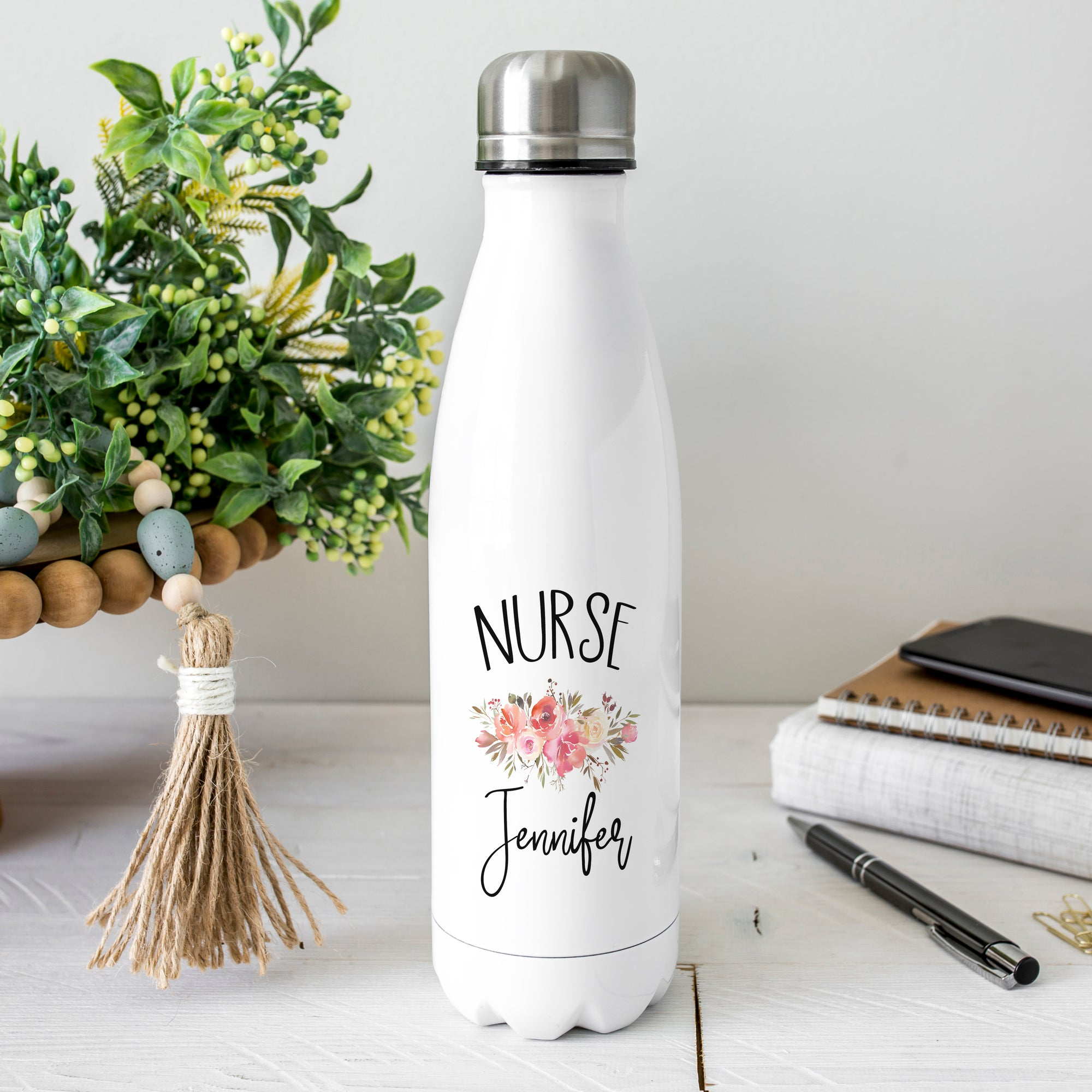 Floral Personalized Nurse Water Bottle