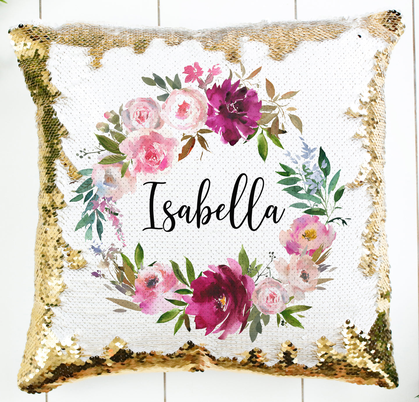 Custom Floral Wreath Pillow