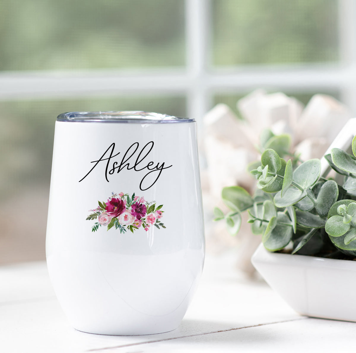Personalized Floral Wine Tumbler