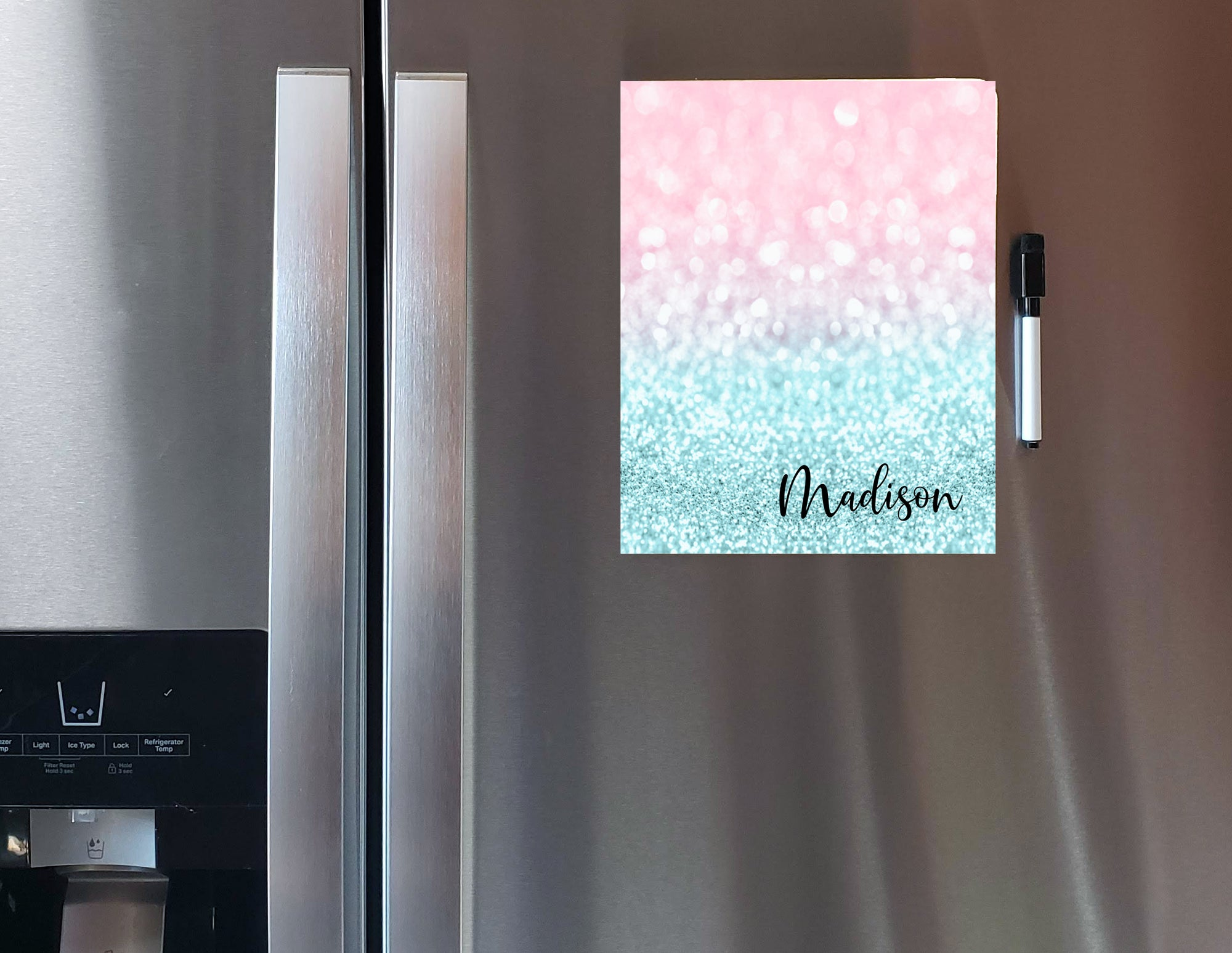 Glitter Pink to Blue Personalized Dry Erase Board