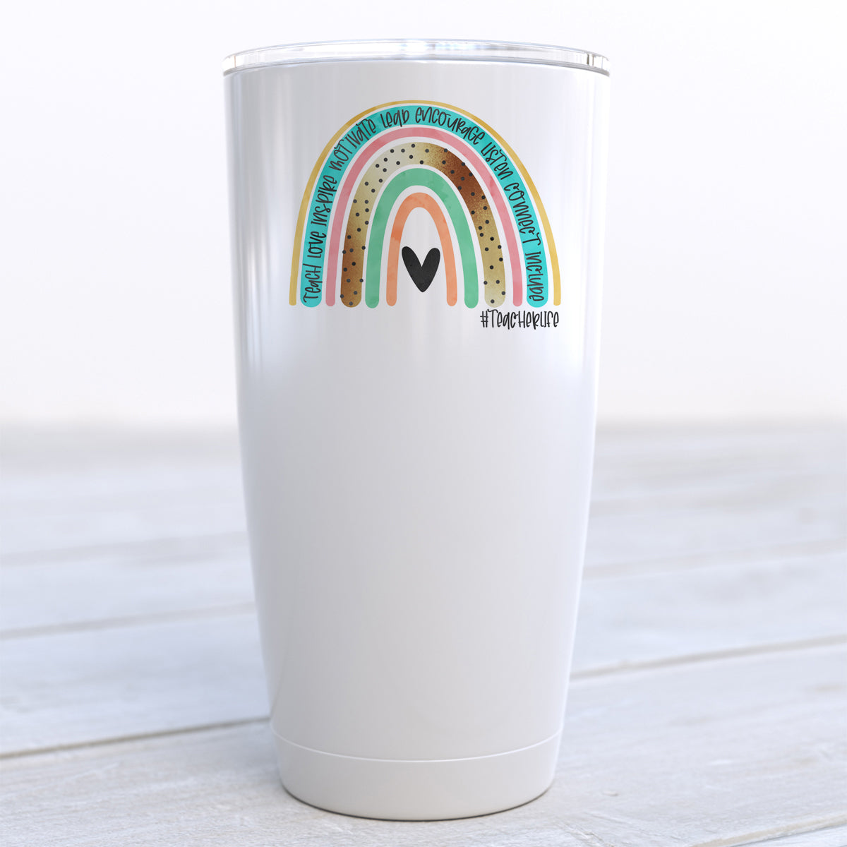 Rainbow Teacher Life Travel Cup