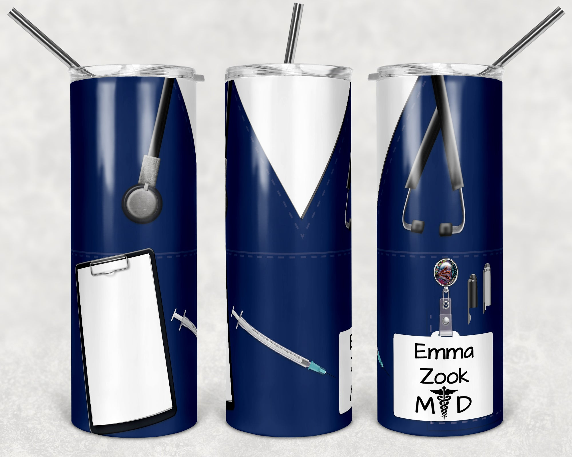 Personalized Medical Worker Scrubs Skinny Tumbler