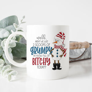 Two Scoops of Grumpy Snowman Mug