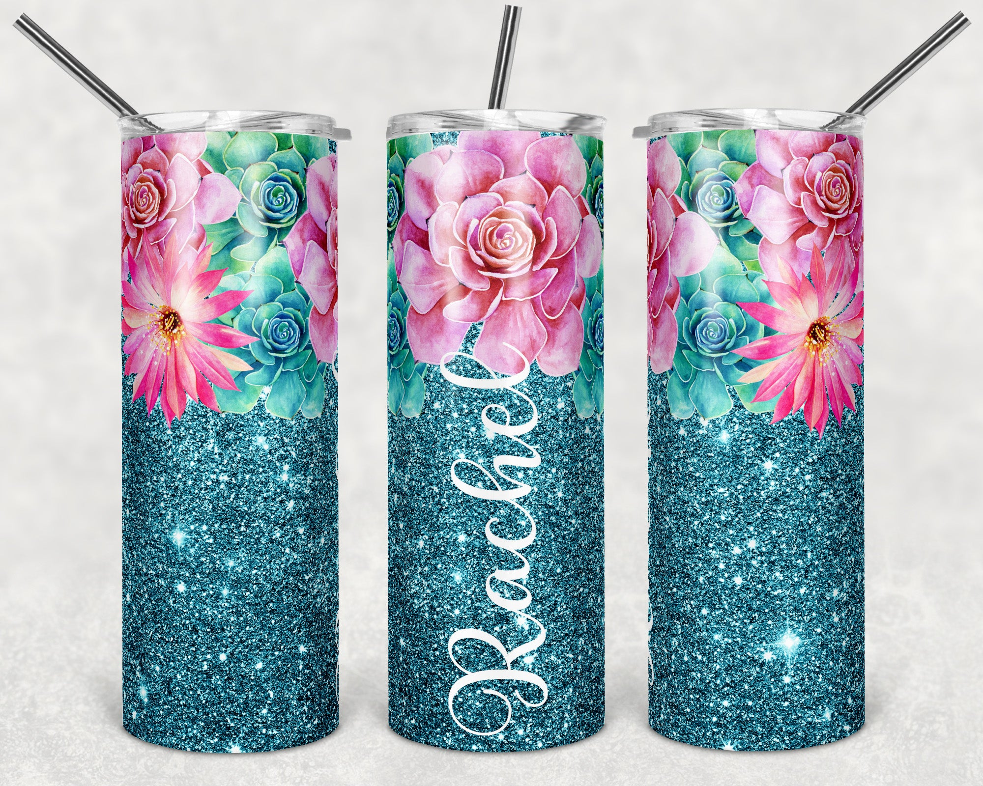 Personalized Succulent Skinny Tumbler
