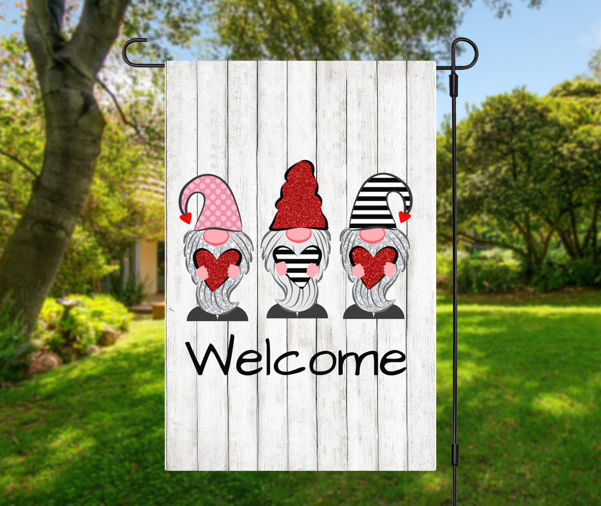 Valentine Gnomes Welcome Flag