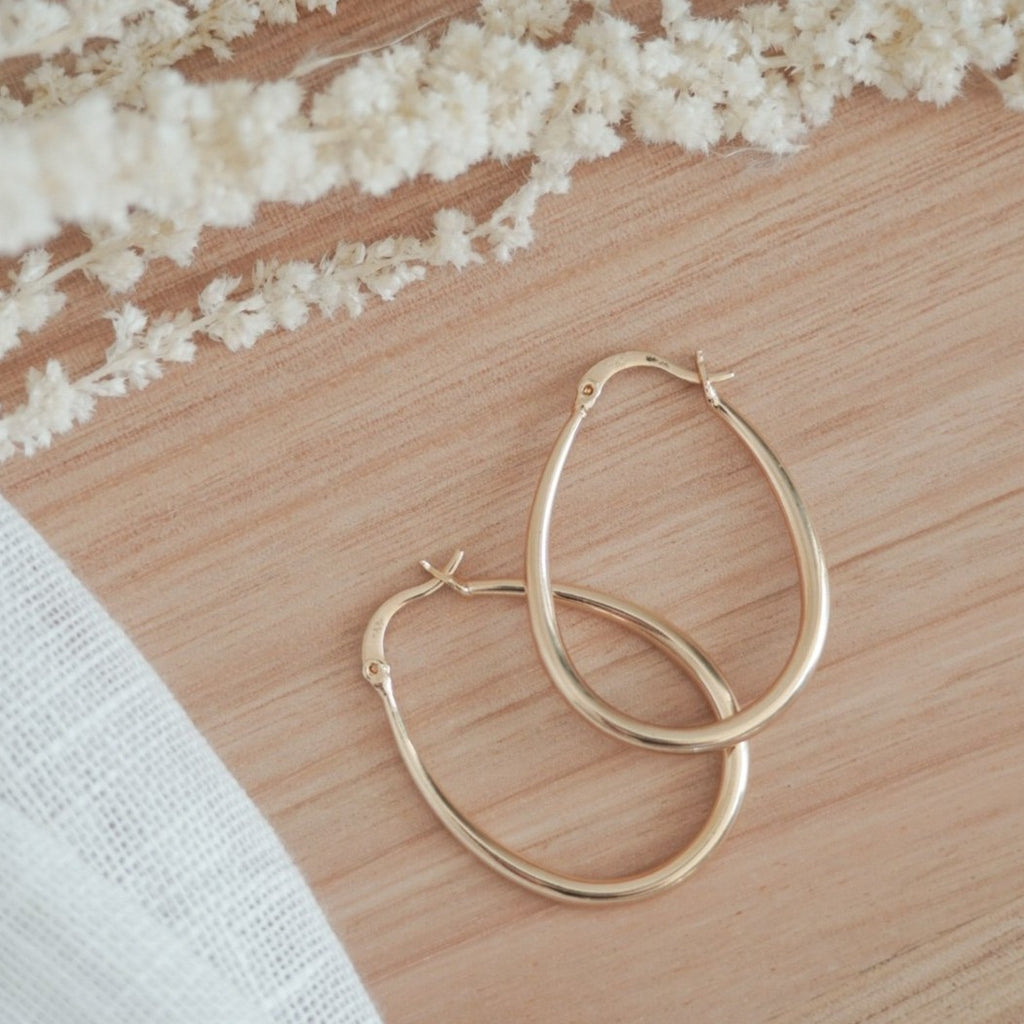 Hourglass Hoops 18k Gold Filled