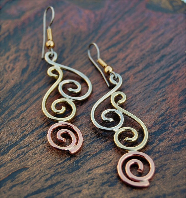 3 Spirals drop earrings - Mixed Metals - Kieran Cunningham