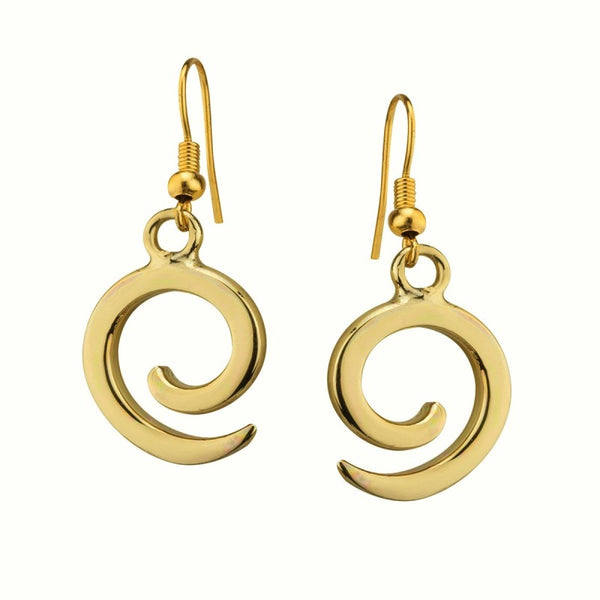 Ancient East Spiral Drop Earrings - Brass - NJO Designs